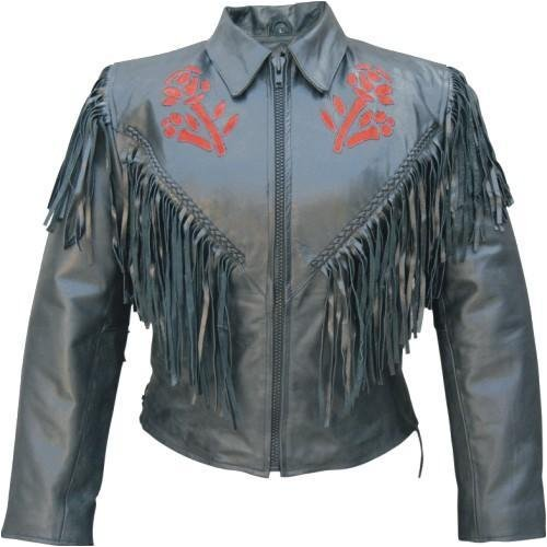 Leather Motorcycle Jacket With Red Rose