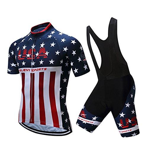USA Men's Bike Sportswear Short Sleeve Cycling Jersey 3D Padded Black Bib Shorts Set Team Red Size XL