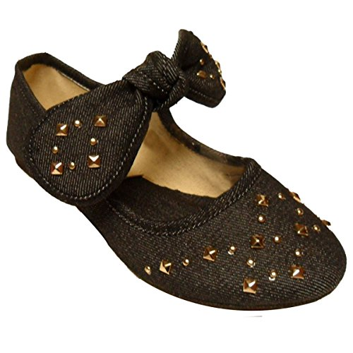 Top Fun Casual Fancy Urban Jewel Stud Rubber Heel Round Toe Play Shoe Sneaker for Little Girls Kid Youth (Black Size 13) (Best Jordan Shoes To Play In)