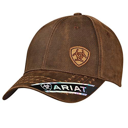 ARIAT Men's Full Oil Corner Logo, Brown, One Size Brim Straw Cowboy Hat