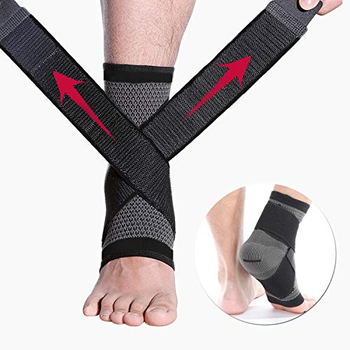 CFR Ankle Brace Breathable Compression Support Sleeve Plantar Fasciitis,Ankle Stabilizer Foot Socks with Adjustable Strap for Swelling & Heel Spur Pain,Soothe Achy Feet,Running,Basketball,Black,M