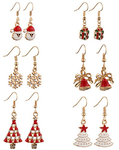 MODEBOX Women's Christmas Dangle Earrings Girls Fashion Cute Stainless Steel Ear Ring Set (6 Pairs) Color Chirstmas (Tacky Christmas Party Costume Ideas)