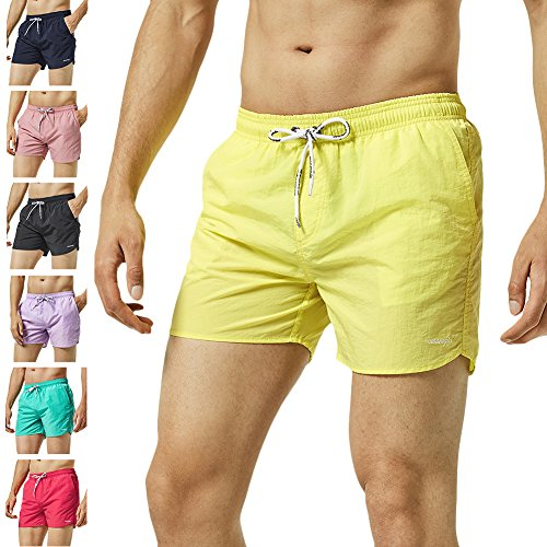 cc96af33 Galleon - MaaMgic Mens Slim Fit Shorts Quick Dry Swim Trunks With Mesh  Lining Male Bathing Suits