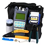 FTTH Fiber Optic Tool Kit 9 in 1 with All in One 10mW Fiber Optical Power Meter and Cable Cutter Stripper Tool FC-6S Fiber Cleave Multi-function Equipment Tool