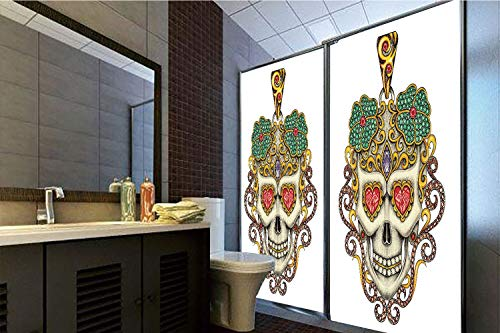 Pendant Yellow Sliders - Horrisophie dodo No Glue Static Cling Glass Sticker,Day of The Dead,Sugar Skull with Heart Pendants Floral Colorful Design Print Decorative,White Ivory and Yellow,39.37