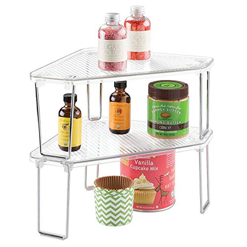 mDesign Corner Plastic/Metal Freestanding Stackable Organizer Shelf for Kitchen Countertop, Pantry or Cabinet for Storing Plates, Mugs, Bowls, Canned Goods, Baking Supplies, 2 Pack - Clear/Chrome