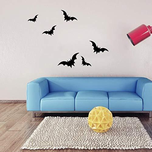 JJLOVER ❤ New DIY Vinyl Removable 4D Wall Sticker Halloween Dark Bats Decals Wallpaper for Wall Decal (A, -