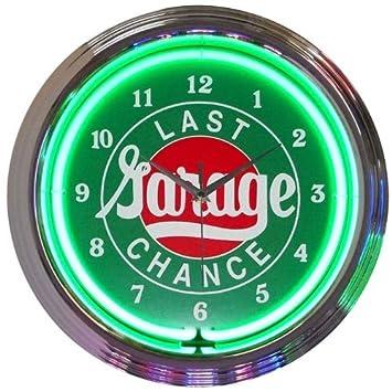 Amazoncom Last Chance Garage Neon Clock Home Kitchen