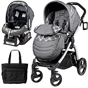 peg perego book plus stroller travel system with a diaper bag pois grey charcoal. Black Bedroom Furniture Sets. Home Design Ideas