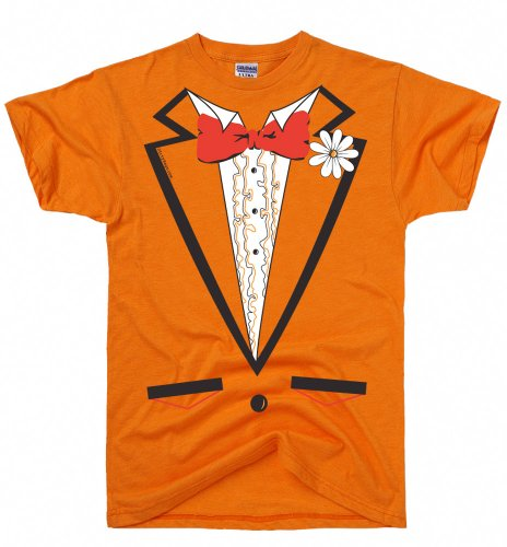DirtyRagz Men's Orange Vintage Tie Tuxedo Tux T Shirt L Orange