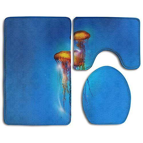 3 Light Vanity Medusa - VANKINE Bathroom Non-Skid Carpet Bath Rugs 3 Pieces Set Water-Absorbing Jellyfish Medusas Flannel Toilet Floor Bath Mats Contour Rug Lid Cover