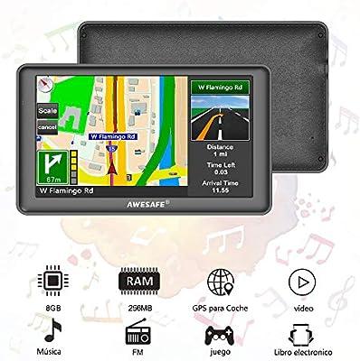 AWESAFE GPS para Coche de 7 Pulgadas Pantalla con Bluetooth ...