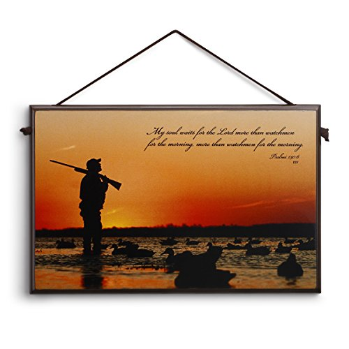 Big Sky Carvers Duck Hunter Sunset Plaque, 10 x 6.5-Inch, Psalms 130:6