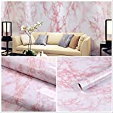 17.7''x78.7'' Self-Adhesive White/Pink Marble Contact Paper Removable Wall Contact Paper Decor Decals Decoration Textured Panel Table Drawer Shelf Wall Crafts drawer contact paper wall paper decorations
