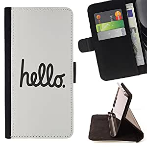 DEVIL CASE - FOR Samsung Galaxy S4 Mini i9190 - Hello Text Handwritten Grey Black Funny - Style PU Leather Case Wallet Flip Stand Flap Closure Cover