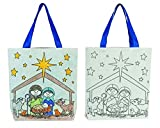 AT001 Canvas, Color Your Own Tote Bag, Children's Nativity, 10'' SQ, 12pk