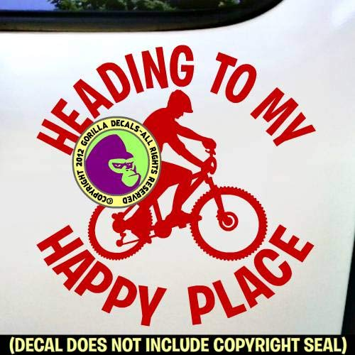 HEADING TO MY HAPPY PLACE MOUNTAIN BIKING Vinyl Decal Sticker H