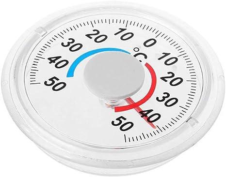 Souarts Fenster Thermometer Selbsklebend Herstellung Außen Analog Fensterthermometer Thermometer Outdoor Rundes Kunststoff Tür Fensterthermometer Küche Haushalt