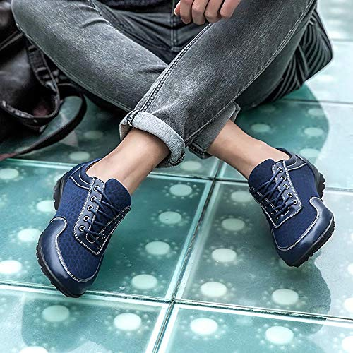 NEDAWM Mens Casual Oxford Dress Sneakers Mesh Leather Wingtip Breathable Comfort Low-Top Walking Flat Brogues Shoes