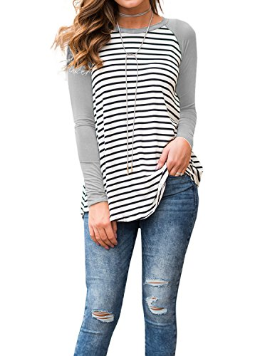 Adreamly Women's White and Black Striped Long Sleeve Baseball T Shirt Sport Tunic Tops Grey Small
