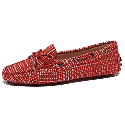 Woman Tod's Mocassino B1539 Roso Argento Coccinella Shoe Donna Suede Red Heaven x8fxAw