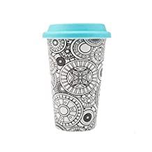 DCI Color Joy Adult Coloring Products, I Am Not A Paper Cup, Custom Travel Coffee Mug, Blue Lid, 12oz Capacity, Geo Spheres Design, White, Ceramic, Spill-Proof