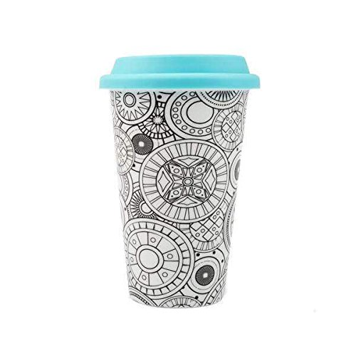 DCI Color Joy Adult Coloring Products, I Am Not A Paper Cup, Custom Travel Coffee Mug, Blue Lid, 12oz Capacity, Geo Spheres Design, White, Ceramic, Spill-Proof (Design 12 Oz Ceramic Mug)