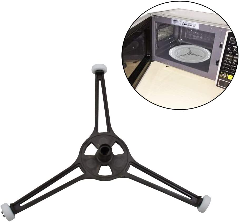 """Microwave Oven Glass Plate Tray Support Holder,Rotating Ring Roller,Plastic Microwave Turntable Triple Support, Roller Wheel Turnpiece Ring Replacement for 9.6"""" and 10.6"""" Flat Plate"""