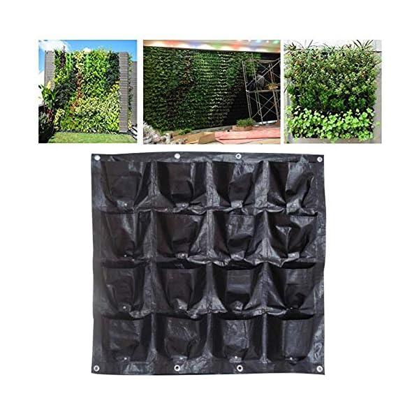 Borsa per piante Black Wall colore pensili Piantare Borse 16 tasche coltiva il sacchetto Planter verticale Orto Living… 3 spesavip