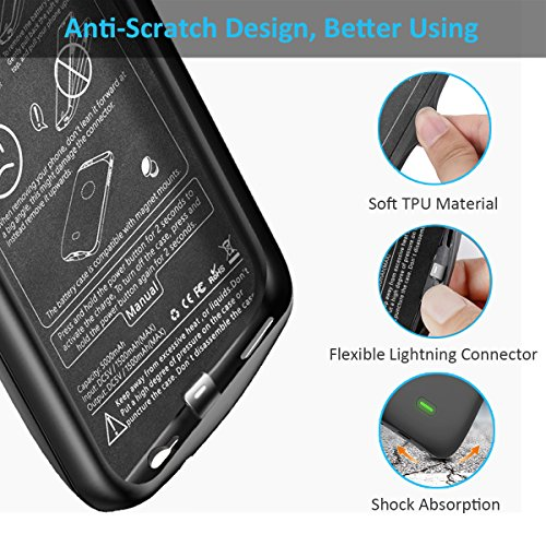 buy popular 6d2af 3970c iPhone 6/6S Battery Case, Vproof [5000mAh] Rechargeable Charger Case  External Battery Pack Portable Power Bank Protective Charging Case Cover  for ...