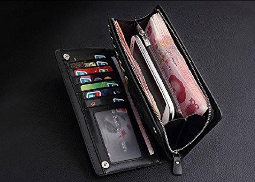 Leather Tonsee® Holder Card Receipt Men Purse Cash Brown Wallet New Black Bifold Organizer xOqBrEx