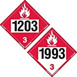 Labelmaster ZTV0393 Two-Sided 4-Digit Hazmat Placard, 1203 Gasoline/1993 Flammable, Rigid Vinyl (Pack of 25)