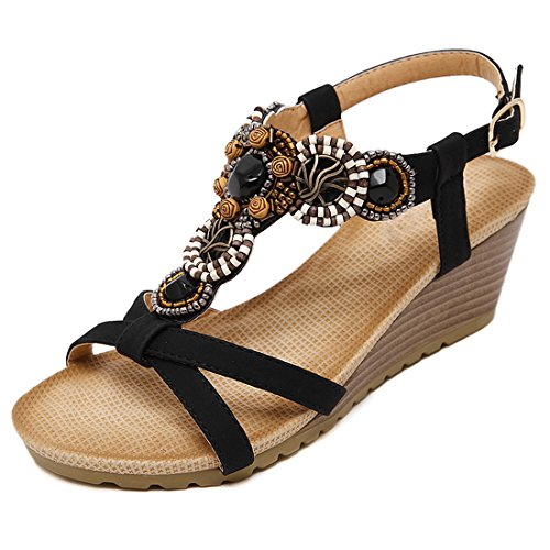 VECJUNIA Ladies Bohemian Style Criss Cross Wedge Platform High Heel Sandals Ankle Strap Dance Shoes Black