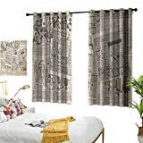 "Sosoart Turquoise Curtains Old Newspaper Decor,Nostalgic Aged Pages with Antique Advertising Fashion Magazines Print,Black Tan 54""x84"",Blackout Patio Door Curtain Panel"