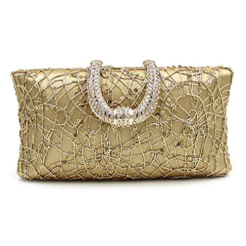 Art Deco Handbag - ULKpiaoliang Women Bag Day Clutch Ladies Evening Clutches Bags Female Gold Party Purse Gold Mini-Max Length-20cm
