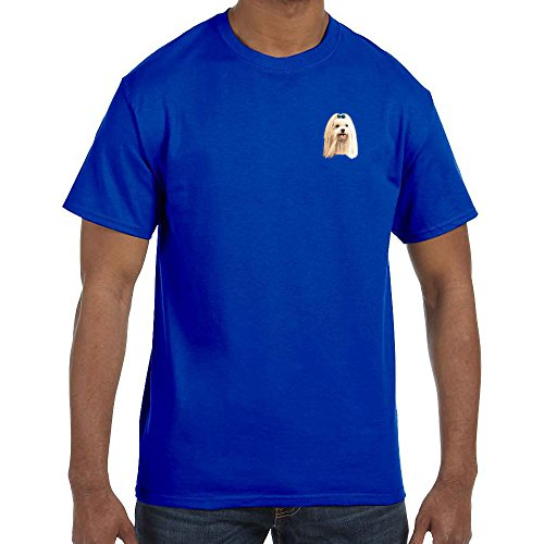 Cherrybrook Dog Breed Embroidered Mens T-Shirts - X-Large - Royal Blue - Maltese