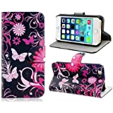 iphone 4 Case,iphone 4S Case, Welity Packing Butterfly Card Slot Wallet Leather Cover Case for Apple iPhone 4/4S/4G and one gift