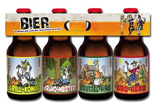 Grill Bier im witzigen 4er Bierschaum-Träger (4 x 0,33l)