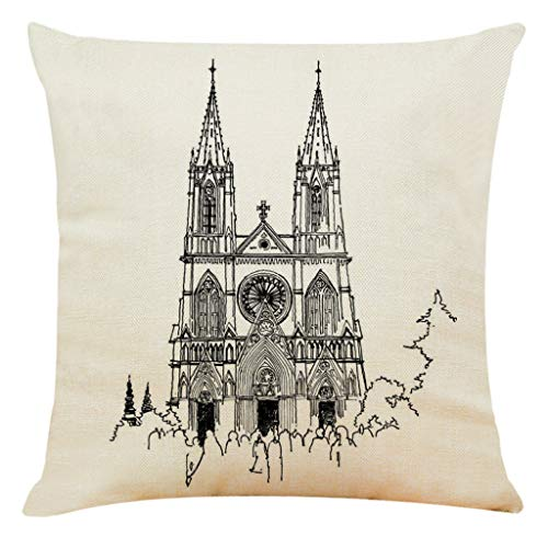 TIFENNY Home Decor Cushion Cover Paris Sacred Building Pillowcase Throw Pillow Covers Notre Dame de Paris ()