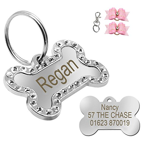 Didog Rhinestone Custom Pet ID Tags, Bone Shape,Free Engraved and Gifts,Bone - Id Dog Charm Tag Pet