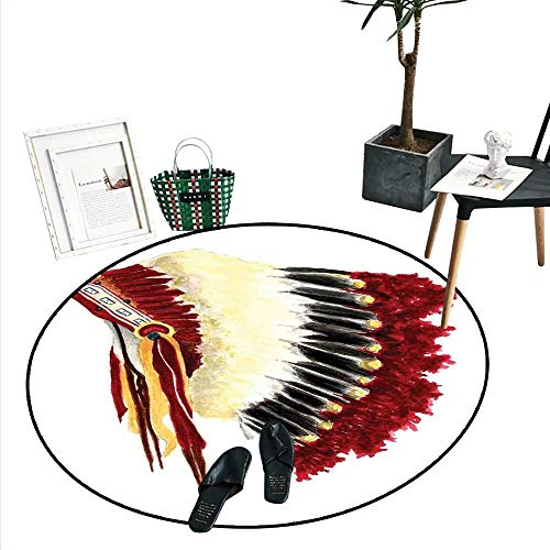 (Native American Round Small Door Mat Original Ethnic Symbolic Mystic Eagle Feather Headdress Indian Life Style Indoor/Outdoor Round Area Rug (2' Diameter) White Red Black)