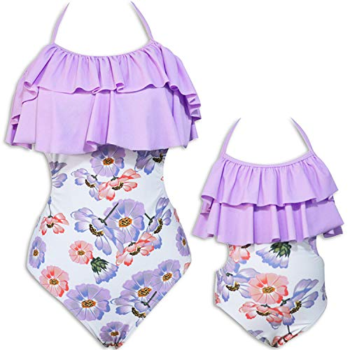 Mommy and Me One Piece Floral Swimsuit Family Matching Swimwear High Waisted Mommy Girl Monokini Bathing Suit Bikini Set (Girl 5-6T (Tag 128), D-Purple Bloom Floral)