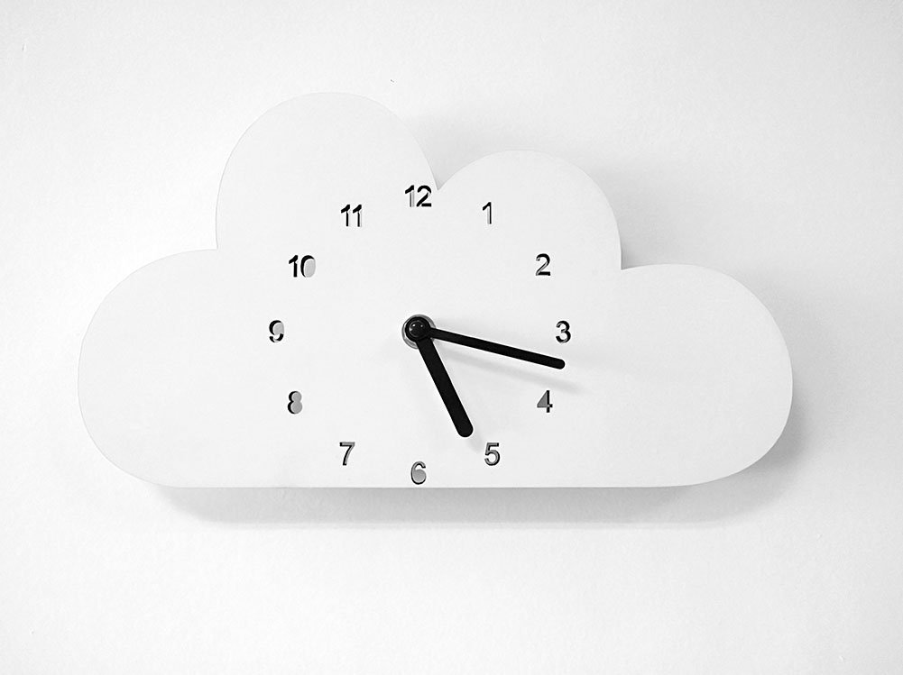 globlepanda Silent Non Ticking Wall Clock Decorative Cloud Shaped Wooden Clock Battery Operated Wall Clocks for Baby Girls Bedroom Decor Nursery Home Decorations Kids Child Birthday Gifts White by globlepanda (Image #2)