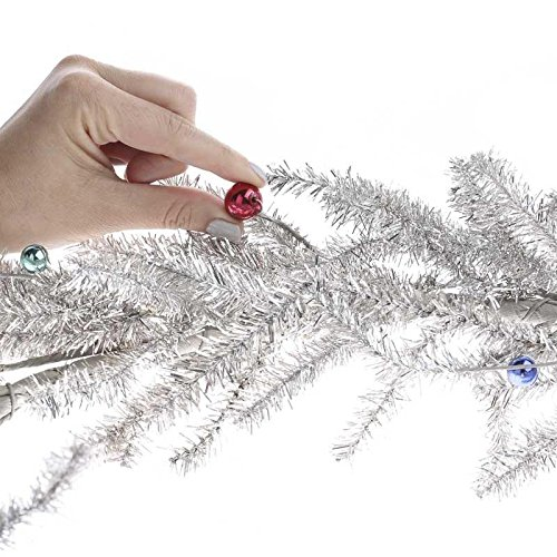 Factory Direct Craft Artificial Sparkling Silver Tinsel Pine and Bead Garland for Holiday and Home Decor