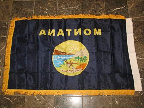 Cowboys Dynasty Watch - Mikash 3x5 Montana State Poly Nylon Sleeve w/Gold Fringe Flag 3x5 Banner | Model FLG - 3126