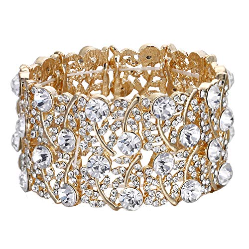 BriLove Women's Wedding Bridal Crystal Cluster Tennis Stretch Bracelet Clear Gold-Toned