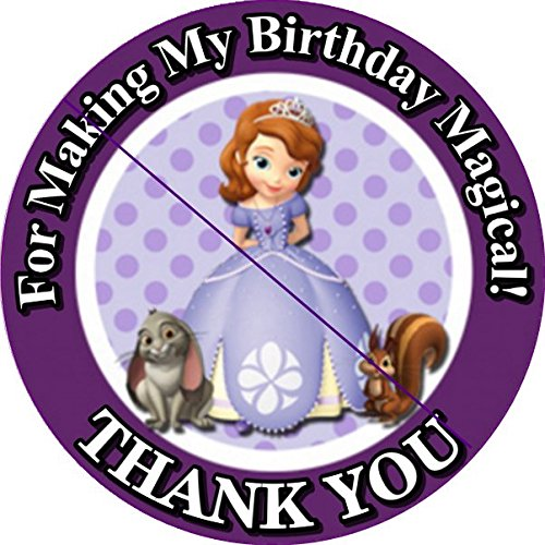 12 SOFIA THE FIRST PRINCESS - Birthday Party Favor Stickers/Labels for Gift, Goody Treat Bag (2.5 inches circle stickers, bags not included) ()
