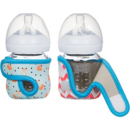 4oz (Set of 2pcs) Miracle Bean Neoprene Baby Bottle Sleeves – Adjustable Sleeves. Glass Bottles – Improved Heat/Cold Retention – Moisture Wicking, Non-Slip Grip – Fox and Elephant Designs