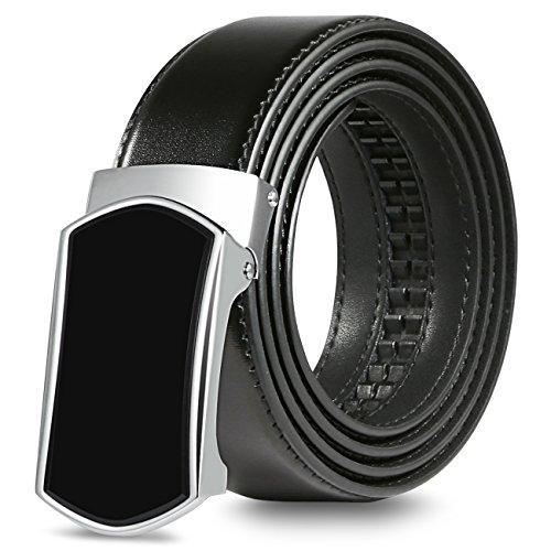 【New 2018 Version】Golf Belts for Men Black Leather with Removable Click Buckle Automatic Ratchet Belt Adjustable Dress Belt 1 3/8'' by WAYMO (Image #2)