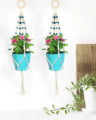 Macrame Plant Hanger, Seavish 2 Pack Hanging Plant Indoor Outdoor Plant Holder Basket Cotton Rope 4 Legs Boho Chic Wall Decor for Garden Balcony Deck Patio Porch (30'') … by Seavish